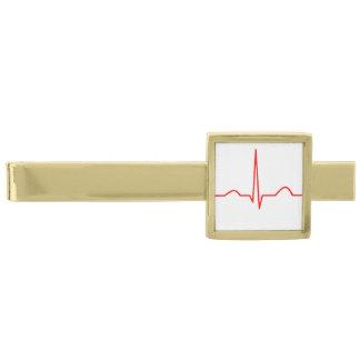 ハートのリズムパターンのECGか心電図 金色 ネクタイピン