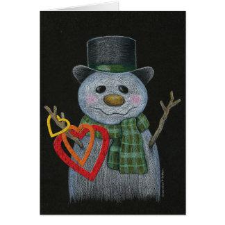 ハートのリングNotecardを握る雪だるま カード