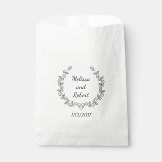 ハートのリースの結婚式の引き出物の名前入りな一流のバッグ フェイバーバッグ