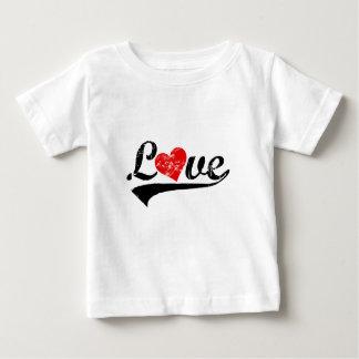 """ハートのレトロの""""愛"""" ベビーTシャツ"""