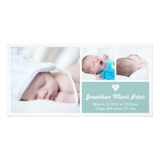 ハートのヴィンテージの青い誕生の発表の写真カード カード