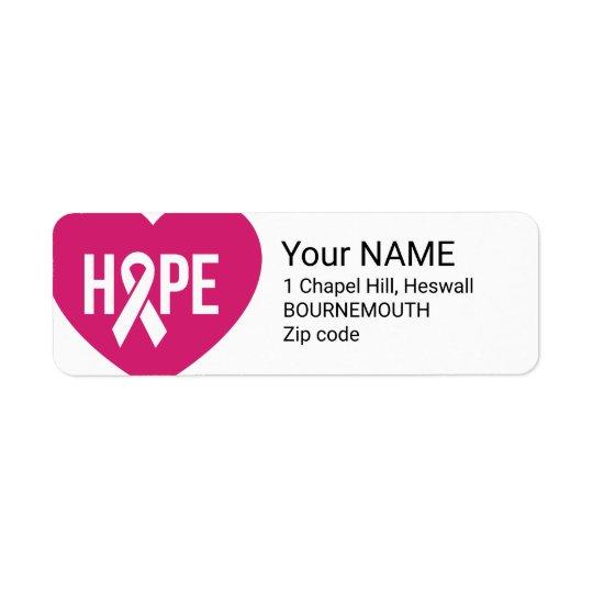 ハートの乳癌の認識度のピンクのリボンを望んで下さい 返信用宛名ラベル