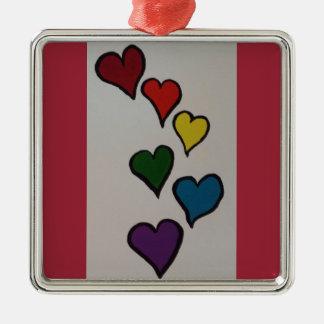 ハートの優れた陶磁器のオーナメントの正方形 メタルオーナメント