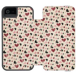 ハートの動揺してで赤いピンクの黒い女の子 INCIPIO WATSON™ iPhone 5 財布 ケース