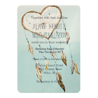 ハートの夢のキャッチャーの結婚式 カード