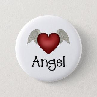 ハートの天使の翼 5.7CM 丸型バッジ