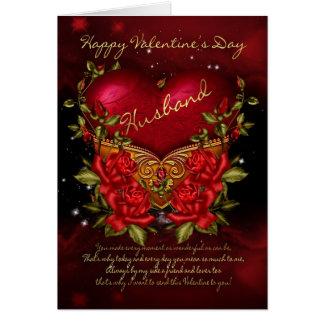 ハートの夫、バレンタインデーカードおよびバラ カード