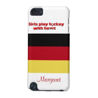 ハートの女の子の演劇のホッケー! -ドイツの旗か名前 iPod TOUCH 5G ケース
