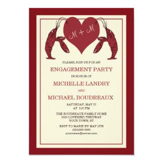 ハートの婚約パーティが付いているCrawfishのロブスター カード