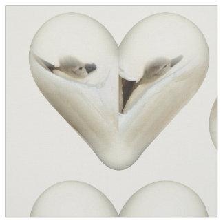 ハートの小さい白鳥 ファブリック