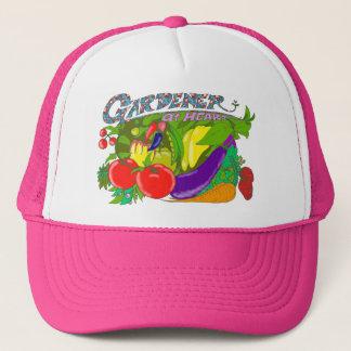 ハートの帽子のピンク庭師 キャップ