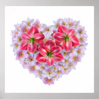 ハートの形のアマリリスの花ポスター ポスター