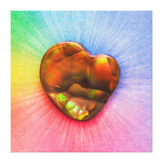 ハートの形のキャンバスが付いている虹の火の瑪瑙 キャンバスプリント