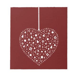 ハートの形のクリスマスのオーナメントのデザイン ノートパッド