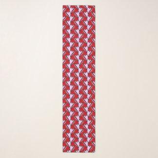 ハートの形の落書きの赤く、ピンクパターン スカーフ
