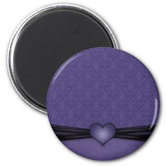 ハートの暗い紫色のダマスク織 マグネット