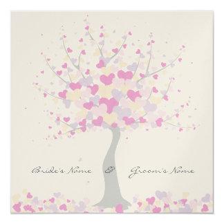 ハートの木-春または夏の結婚式招待状 カード