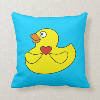 ハートの枕を持つかわいい漫画のゴム製アヒル クッション