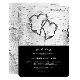 ハートの樺の木の吠え声の素朴な結婚式招待状 カード