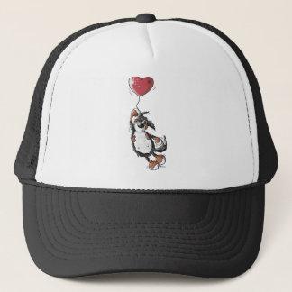 ハートの気球を持つおもしろいなバーニーズ・マウンテン・ドッグ キャップ
