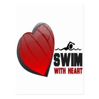 ハートの水泳 ポストカード