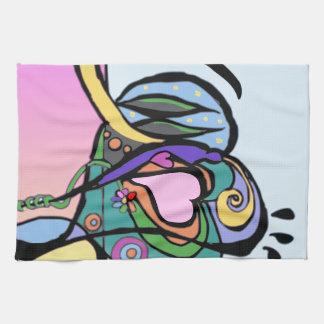 ハートの流れの近代美術 キッチンタオル