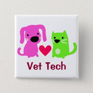 ハートの獣医の技術犬及び猫 5.1CM 正方形バッジ