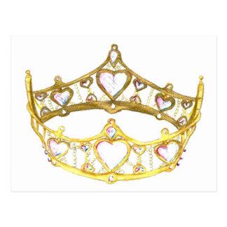 ハートの王冠のティアラの郵便はがきの女王 ポストカード