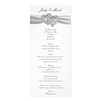 ハートの白い結婚式メニューカード カスタマイズラックカード
