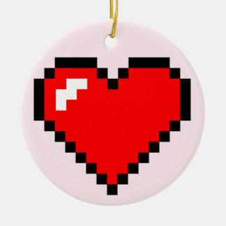 ハートの盗人8ビットピクセル芸術-おもしろいでオタク系のなゲーマー セラミックオーナメント