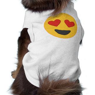 ハートの目のEmoji犬のワイシャツ ペット服