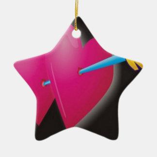 ハートの矢のデザイン セラミックオーナメント