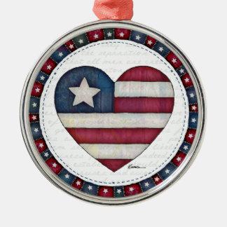 ハートの米国旗 メタルオーナメント