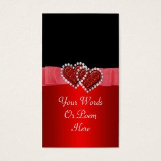 ハートの結婚を締める赤い及び黒ダイヤ 名刺