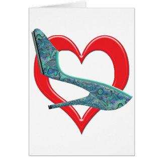 ハートの緑及び青のアワビの貝 カード