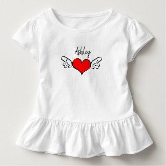 ハートの翼のバレンタインデーの名前のワイシャツの服 トドラーTシャツ