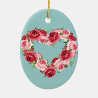 ハートの花のリース、愛 セラミックオーナメント