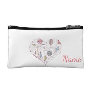 ハートの落書きの名前入りな化粧品のバッグ コスメティックバッグ