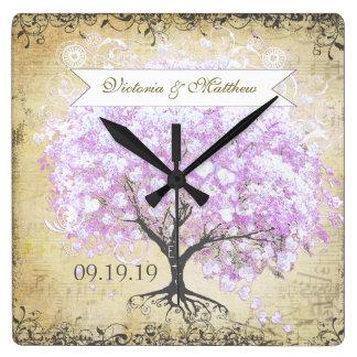 ハートの葉のラベンダーの木のヴィンテージの鳥の結婚式 スクエア壁時計