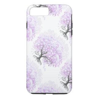 ハートの葉のラベンダーの木のヴィンテージの鳥の結婚式 iPhone 8 PLUS/7 PLUSケース