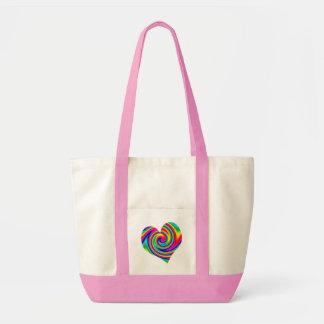 ハートの虹の回転 トートバッグ