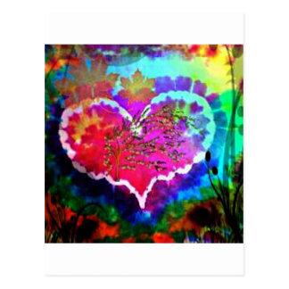 ハートの虹の絞り染めのギフトのコレクションのヒッピー ポストカード