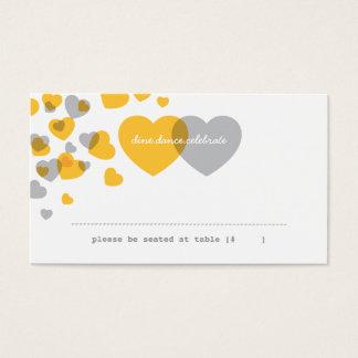 ハートの護衛カードの2 -黄色及び灰色 名刺