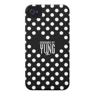 ハートの電話箱との黒の水玉模様 Case-Mate iPhone 4 ケース