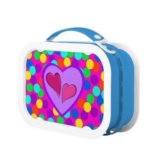ハートの青いお弁当箱 ランチボックス