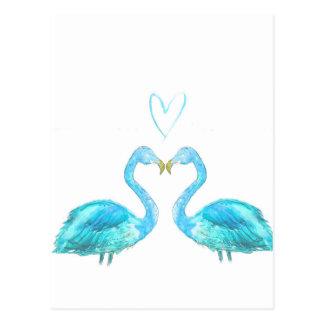 ハートの青い水彩画のフラミンゴ ポストカード