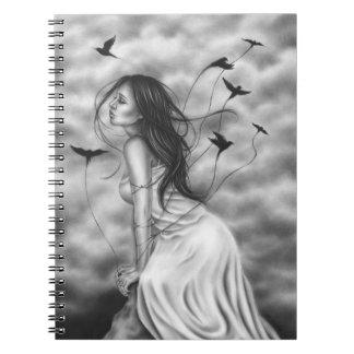 ハートの飛ぶ鳥のノートの付属品 ノートブック
