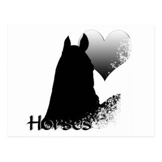 ハートの馬Iの(銀製のハート)郵便はがき ポストカード