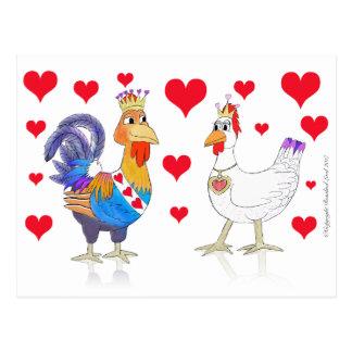ハートの鶏王そして女王 ポストカード