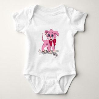 ハートの鼻のピンクの子犬の漫画 ベビーボディスーツ